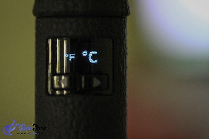 FocusVape screen and temperature settings