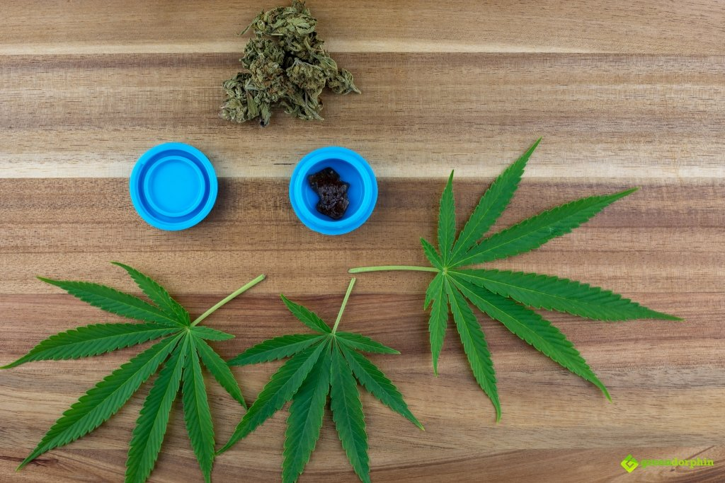 Cannabis flowers, cannabis concentrate and cannabis leaves