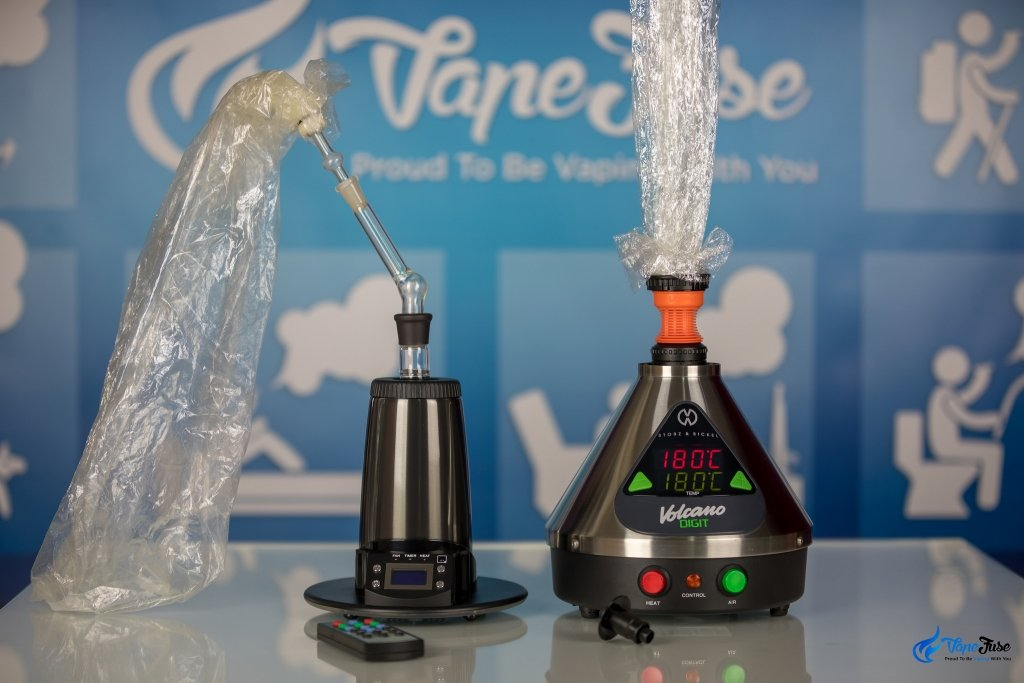 Arizer Extreme Q vs Volcano Digit Vaporizer with balloons