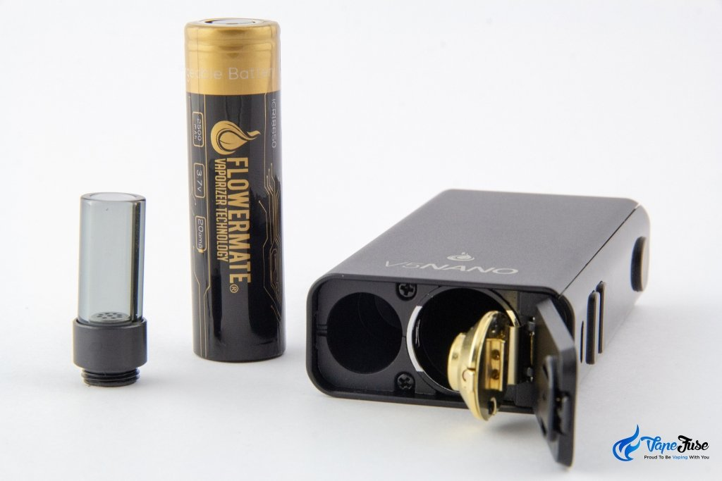 Flowermate V5 Nano Portable Vape - battery and mouthpice