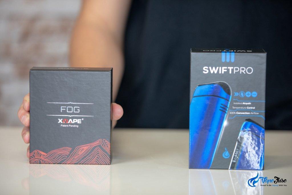 X Vape FOG vs Flowermate Swift Pro - boxes